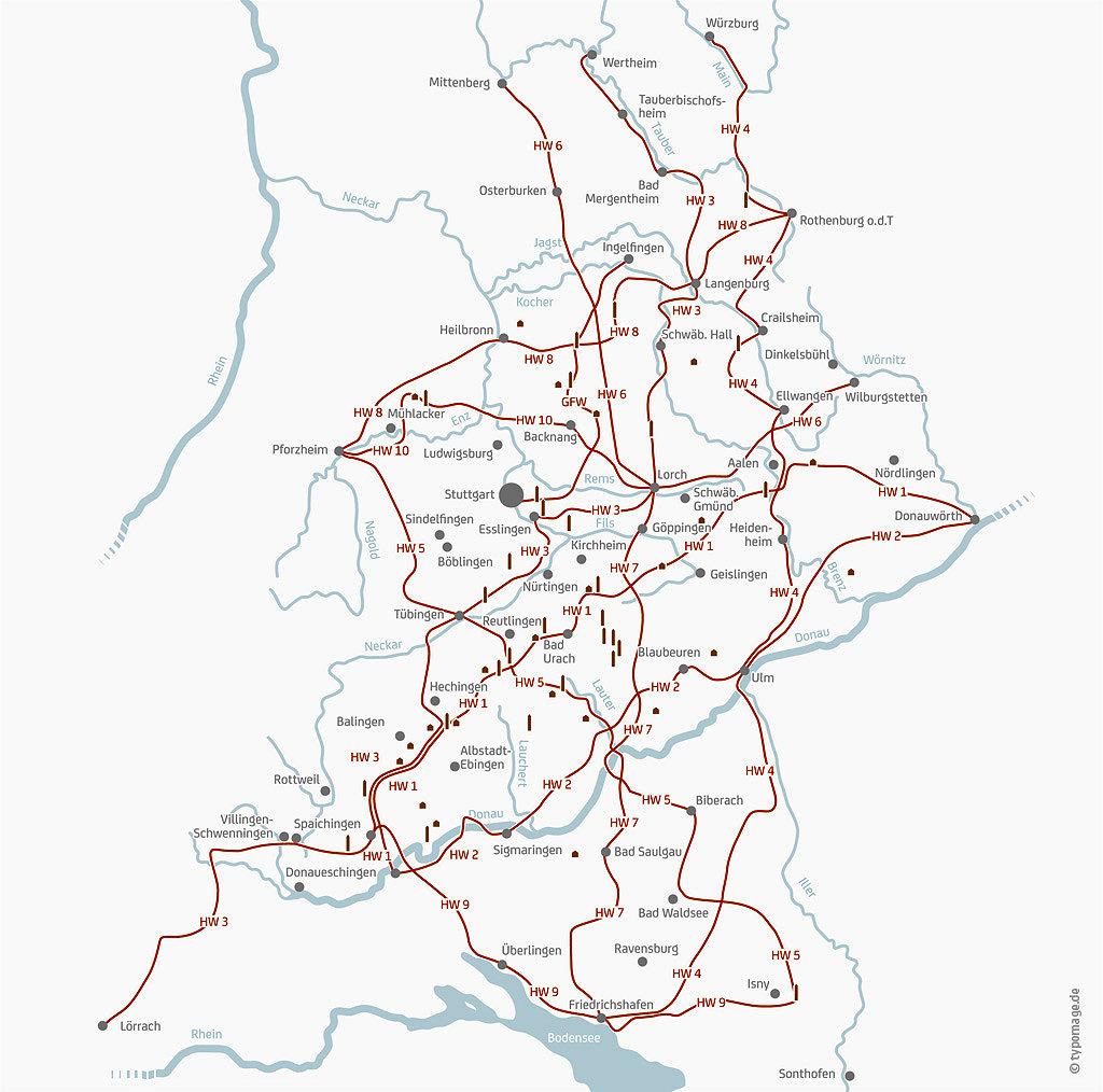 Übersichtskarte der Hauptwanderwege