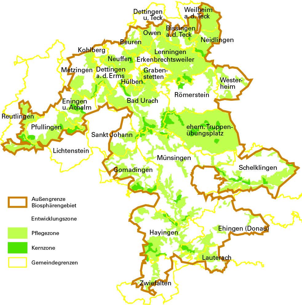 Biosphärengebiet Schwäbische Alb (Übersichtskarte)